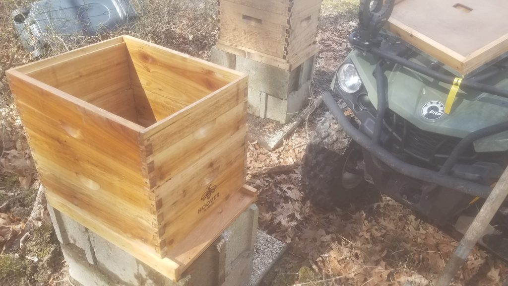 Both hives shown on pavers and cinderblocks